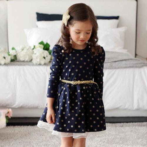 Mädchen Kinder Tupfen Partykleid Festkleider Hochzeit Tutu Tunika Skater Kleider