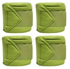 Set-Of-4-LIME-GREEN-Fleece-Polo-Leg-Wraps-NEW-HORSE-TACK