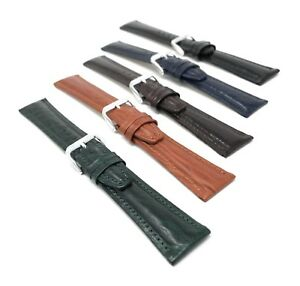 12mm-to-20mm-Classic-Genuine-Leather-Watch-Band-Strap-Semi-Glossy-5-Colors