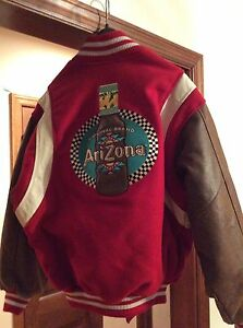 8be59edee Details about Custom Made Arizona Beverage Co USA Varsity Wool Leather  Bomber Jacket Sz Medium