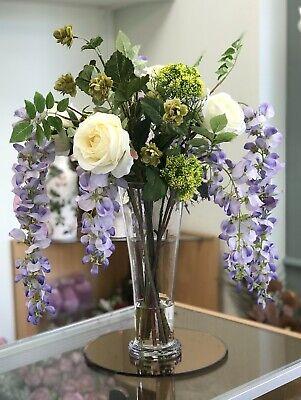Artificial Lilac Wisteria Hop Spray Rose Flower Arrangement Glass Vase Ebay
