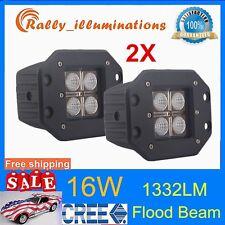 2pcs 16W Cree Square Flush Mount FLOOD LED Work Light Bumper OffRoad Truck 4X4WD
