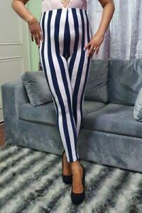 Girls High Waist Leggings Women/'s Ladies Blue /& White Stripe Legging Pants