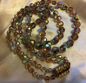 VINTAGE Rainbow Color Aurora Borealis Double Strand Necklace Rhinestone Clasp #3