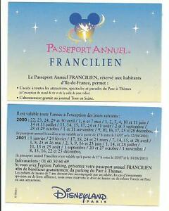 Calendrier Pass Disney.Details About Pass Disneyland Paris Annual Passport Calendar Francilien 2000 2001 Apcs Show Original Title