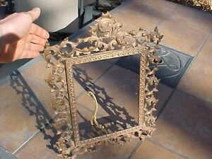Antique Ornate Large Heavy Brass Picture Frame Holds