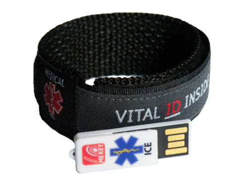 Cyclist ID Wristband Charcoal Large MEkey ICE ID USB Emergency ID Wristband