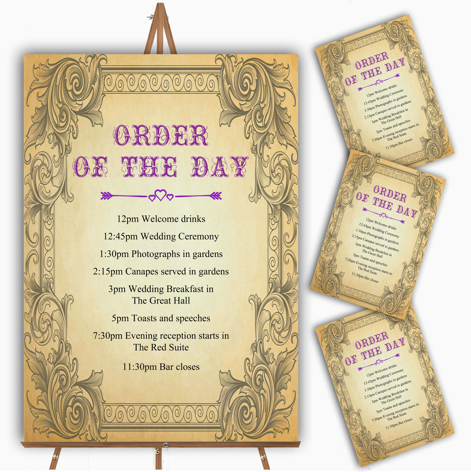 Typography Vintage lila Postcard Personalised Wedding Order Of The Day Cards