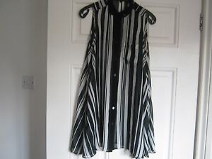 River-Island-black-and-white-striped-chiffon-style-top-size-6-exc-condition