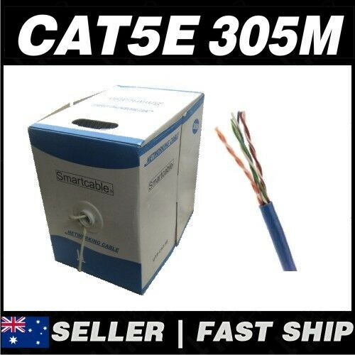 1x 305m Cat 5 5E Cat5 Cat5E B LUE  Network LAN Patch Cable Home TV Box PS4 Xbox