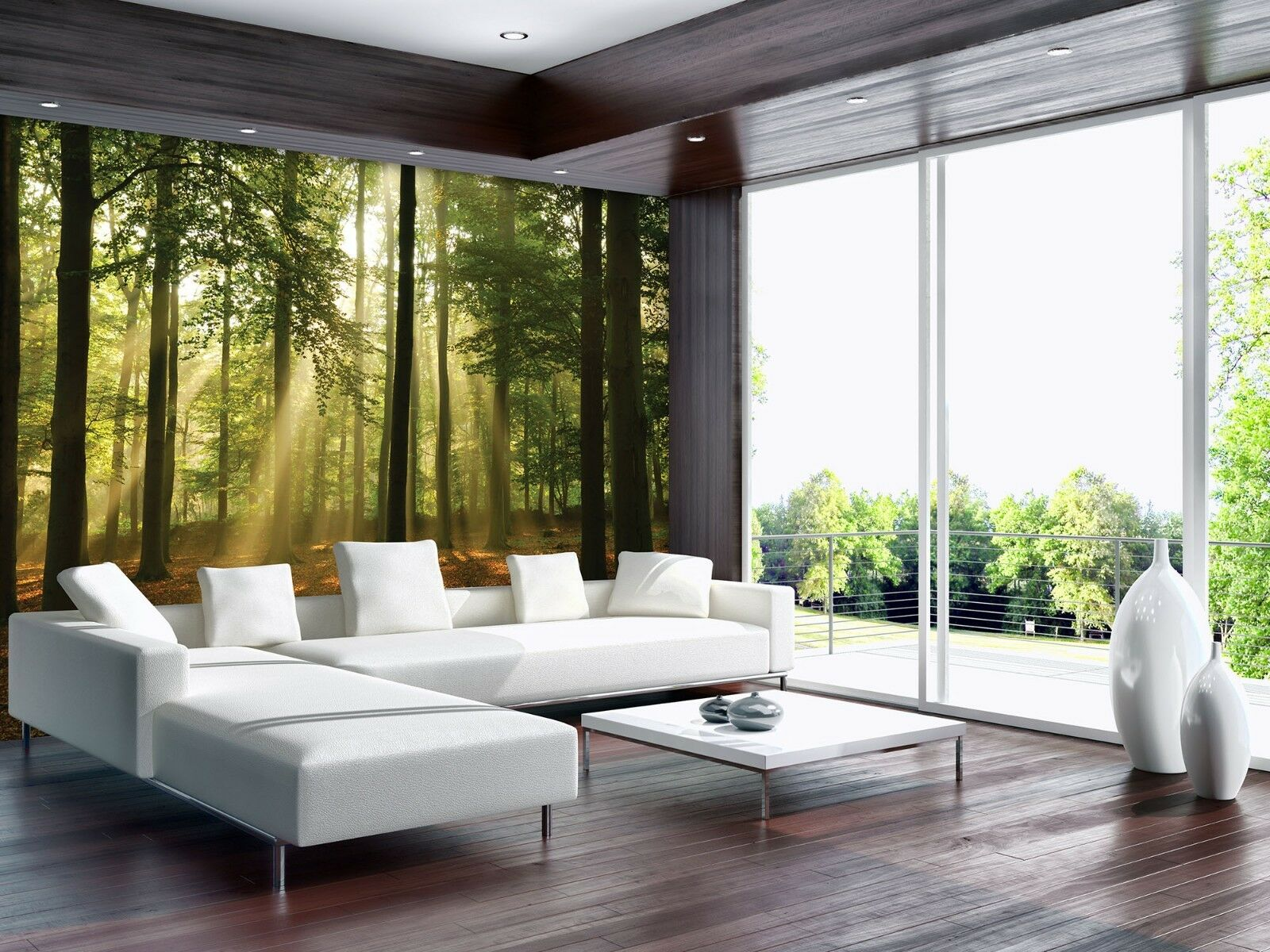 Arbre Feuilles Forêt Photo Papier peint photo vert Mural Maison ...