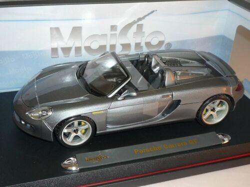 Porsche Carrera GT Grau Cabrio 1//18 Maisto Modell Auto mit oder ohne individiu..