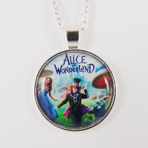 Details about ALICE IN WONDERLAND POSTER NECKLACE tim burton johnny depp  disney cheshire cat
