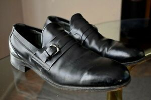 55bcc140f7021 Details about Men's Vintage 70-80's Black LOAFERS 10.5 D All Leather  Breather Wright Arch