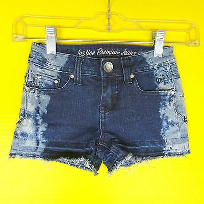 Justice Girls Denim Shorts 6 6R Low Rise Acid Washed Distressed Frayed Cutoff
