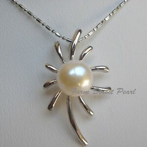 Huge-11mm-Genuine-Cultured-Freshwater-White-Pearl-Pendant-Necklace-18-Flower