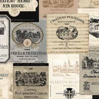French Wine Labels Wallpaper Gold /& Black  KK26753 Double Roll