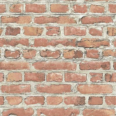 RASCH 10M LUXURY TEXTURED BRICK EFFECT WALLPAPER STONE WALL GREY BLACK RED NEW