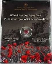 July 15 2004 Canada WW1 Official First Day Poppy Quarter Coin Reverse Colorized