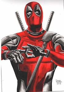 Deadpool-by-Diego-Mendes-original-pen-and-watercolor-drawing-signed-amp-dated