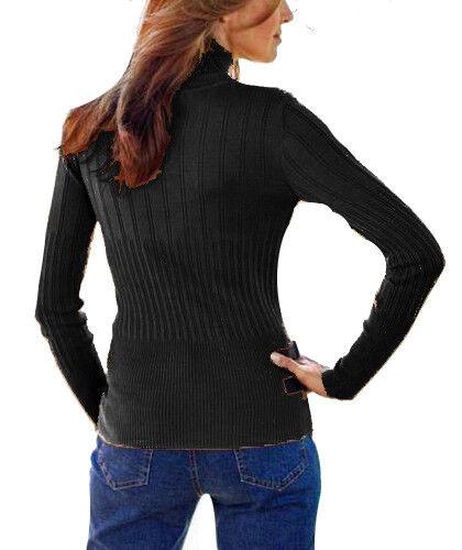 40//42 NERO 904351 NUOVO Bellissimo maglione collo alto tg