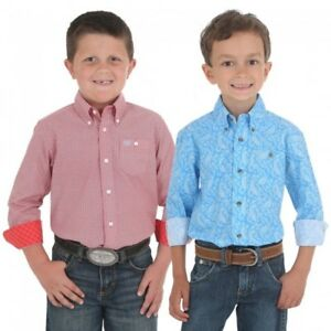 c55754928c Wrangler Boy s Red   Blue Assorted Print Button Down Western Shirts ...