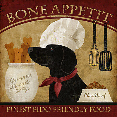 Bone Appetit by Conrad Knutsen Animals Vintage Ads Black Lab Dogs Print Poster