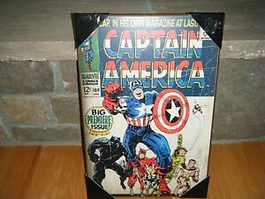 """VINTAGE 1968 CAPTAIN AMERICA MARVEL COMIC #100 COVER WOOD WALL PLAQUE 13"""" X 19"""""""