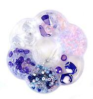 500+ Pastel Purple 6 Different Variety Beads Heart Kit Bead Box