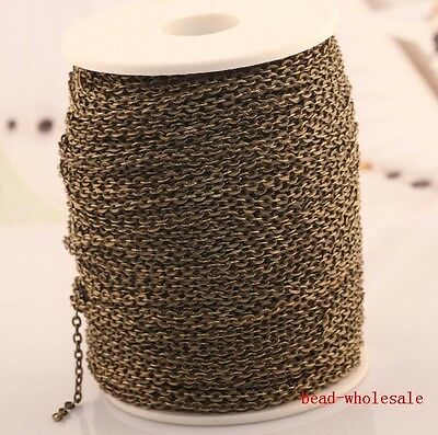 5 Meters Antique Bronze Color plated cable open link iron metal chain findings