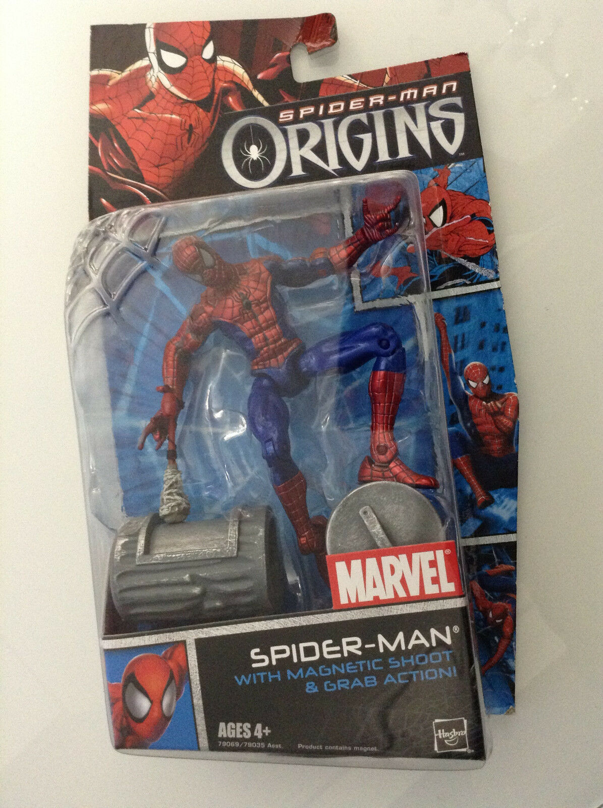 SPIDER-MAN ORIGINS w MAGNETIC SHOOT & GRAB ACTION FIGURE 6  HASBRO MIC MARVEL 12