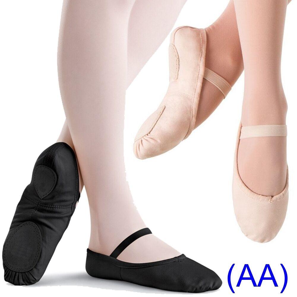 Pink & Black CANVAS Ballet Dance Shoes split suede sole Children's & Adults (AA)