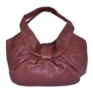 Women-039-s-Genuine-Leather-Knotted-Hobo-Shoulder-Bag-Black-or-Burgundy-Brown