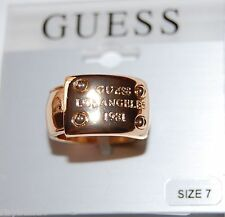 """NWT Guess Gold Metal 'Plaque' Logo Engraved """"GUESS Los Angeles 1981"""" Size 7"""