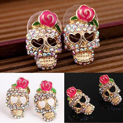 Women Fashion Cute Pink Rose Rhinestone Skeleton Skull Ear Studs Earrings