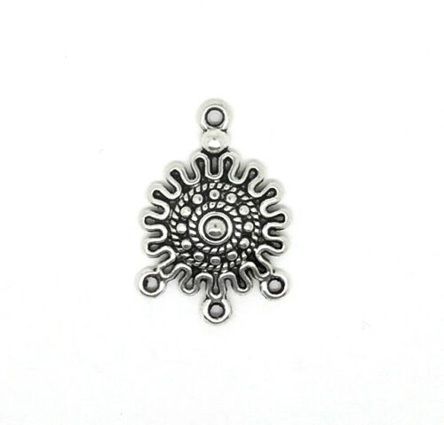 10 Connectors Boho Style 1-3 Hole Antique Silver Tone Jewellery Findings J00324G