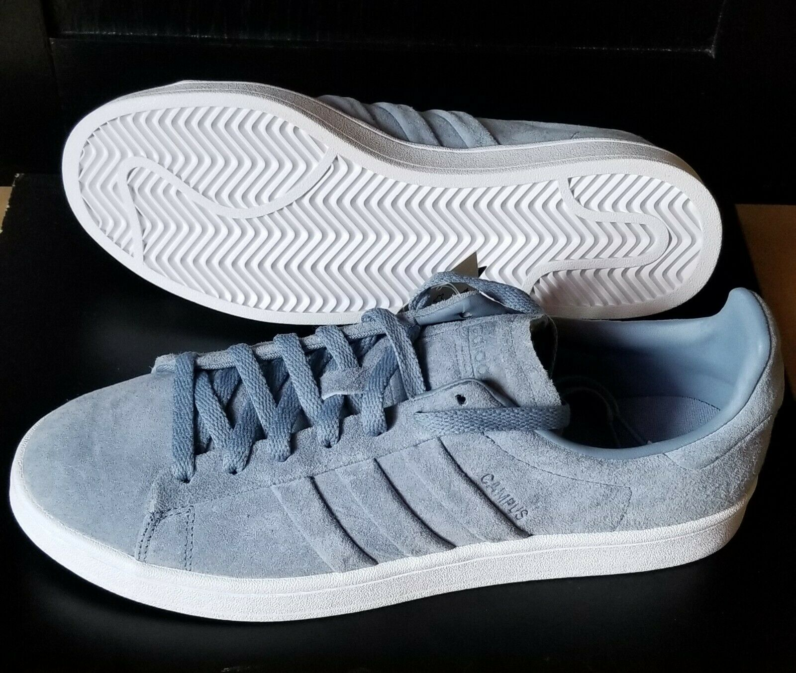 55e8b315912350 Adidas CQ2471 Campus Stitch and Turn Running shoes bluee Grey White Sneaker  US 10