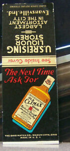 Vintage-Matchbook-Cover-Y7-Evansville-Indiana-Old-Climax-Bourbon-Whiskey-Store