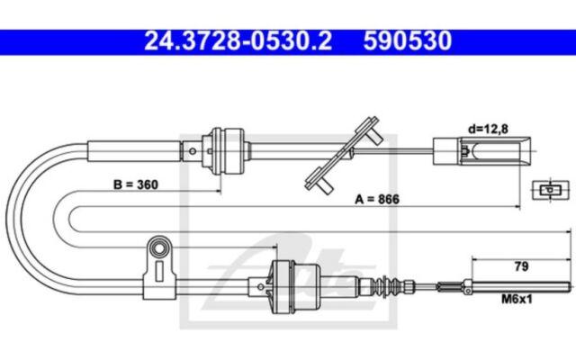 ATE Cable de accionamiento, accionamiento del embrague FIAT 24.3728-0530.2