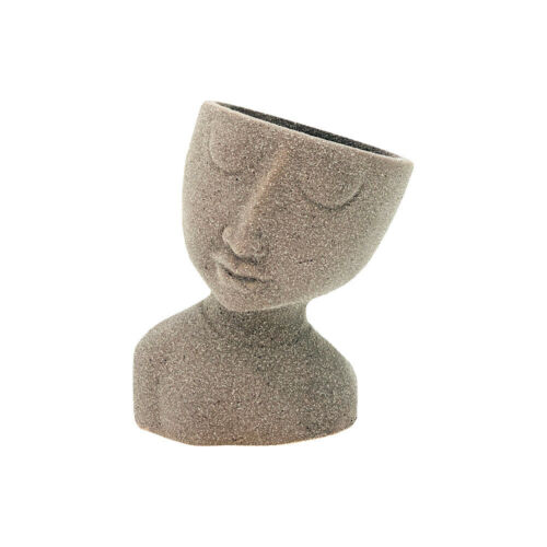 New 1pce Flower Pot Head Stoneware Man 14.3x11x16.7cm with Leaning Head Herbs an