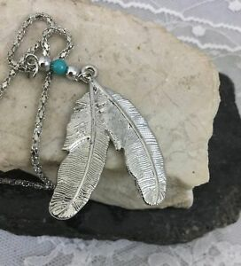 Vintage-Silver-Tone-Southwest-Native-American-Style-Feather-Pendant-Necklace
