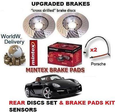 FOR PORSCHE BOXSTER 987 2.7 2004-2009 REAR DRILLED BRAKE DISCS /& PADS /& SENSORS