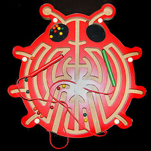 Wooden-Scarab-Magnetic-Labyrinth-Wood-maze-metal-balls-game-Puzzle-Toy