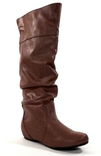 Soda Women/'s Slouchy Knee-high Flat Boots in Tan Leatherette TAIL