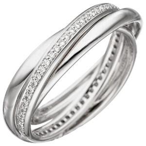 3-er Ring Damenring mit 58 Diamanten Brillanten rundum, 585 Gold Weißgold