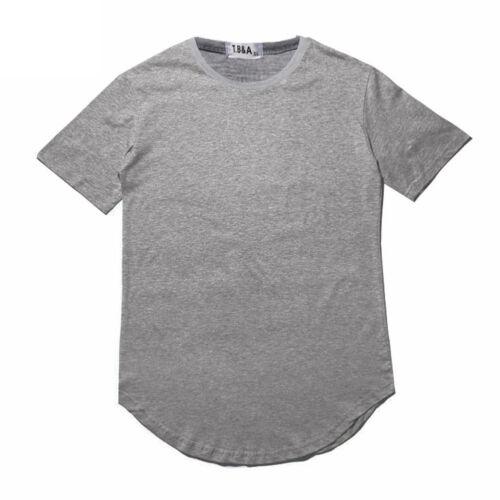 Longline Long Extended Hip Hop T-Shirt  Mens Curved Hem Streetwear Hipster Basic