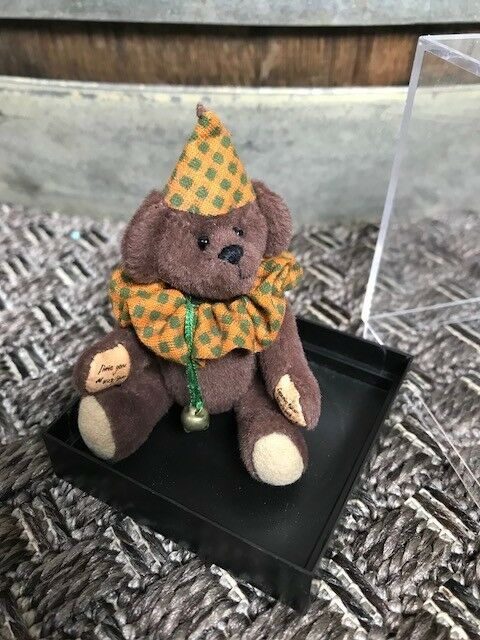 LittleGem Teddy Bears, Clown, Marronee bear with arancia and verde, small bell