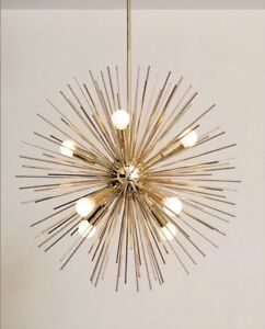 Mid century inspired handmade brass starburst chandelier sputnik image is loading mid century inspired handmade brass starburst chandelier sputnik mozeypictures Image collections