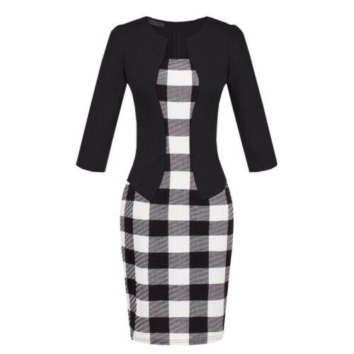 Women Sheath Bodycon Dress Belt Elegant Business Party Office Formal Work Pencil