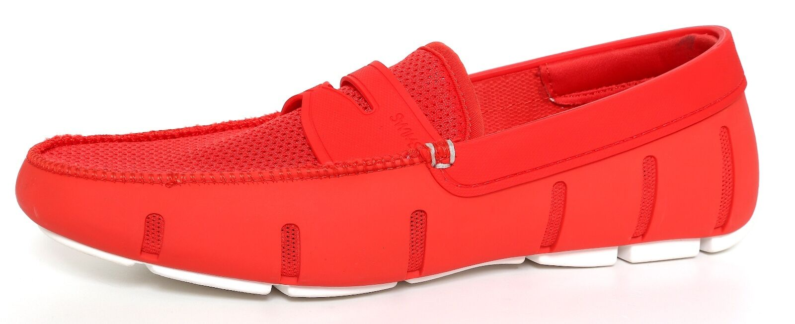 Swims Moc Toe Textured Penny Loafers Red Men Sz 7 3192